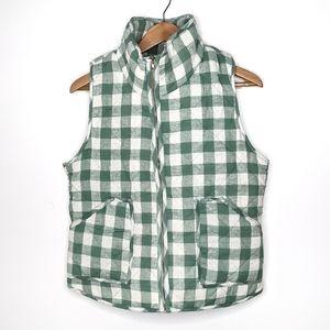Green gingham plaid vest by Peach Love California